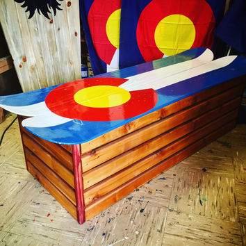Hand Painted Colorado Flag snowboard hallway boot bench