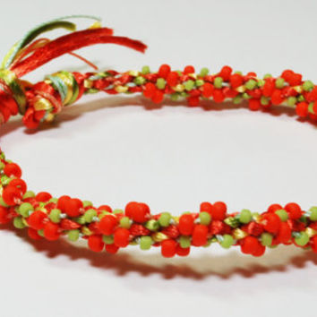 Pumpkin Orange & Green Beaded Kumihimo Bracelet by epicstitching