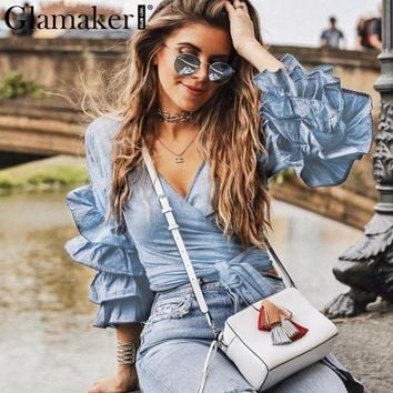 Glamaker Ruffle warp blouses shirts Women casual kimono summer top tees clothing Sexy party long sleeve feminine blouse crop top