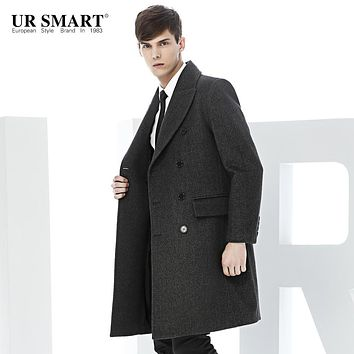 URSMART man cloth coat new men in long wool coat middle-aged male business Coat