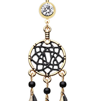 Golden Colored Black Dreamcatcher Belly Button Ring