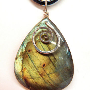 Golden Labradorite Pendant Hammered Sterling Silver Spiral Natural Rainbow Gemstone Wire Wrapped Spectrolite Black Moonstone FREE SHIPPING
