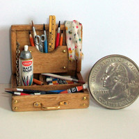 Miniature Artist Paint Box (1 inch dollhouse scale)