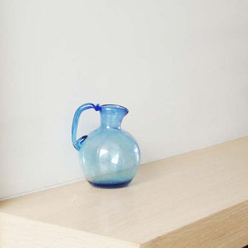 Vintage miniature jug, handblown glass, Greek jug in coblat blue, early nineties