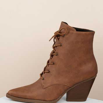 Lace Up Pointed Toe Chunky Heel Ankle Boots