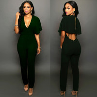 Blackish Green Deep V Neck Drape Cutout Jumpsuit