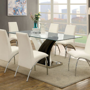 Furniture of america CM3382T-8370WH-7PC 7 pc Svana white and dark gray finish base glass top dining table set