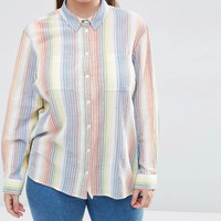 ASOS CURVE Shirt in Multi Stripe