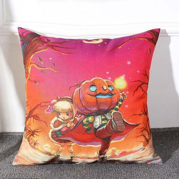 Halloween Pumpkin Square Pillow Cover Pillowcase Zipper Closure