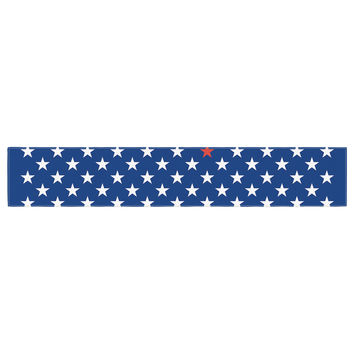 """Bruce Stanfield """"Red Star"""" Blue Table Runner"""