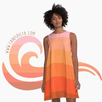 Ombre A-Line Dress Living Coral Unique Pink Orange Pastel Gift Apparel Women Girl Geometric Summer Print Neon Flowy Cute Beach Pattern Gown