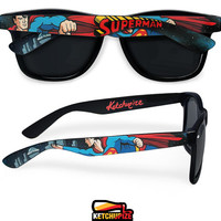 Superman Sunglasses - Wayfarer sunglasses comic unique hand painted - red - blue - yellow