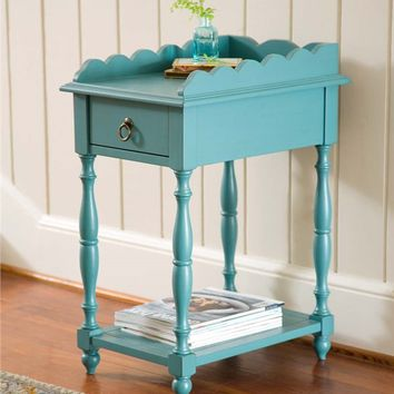 Scalloped Edge Side Table With Drawer | Accent Tables