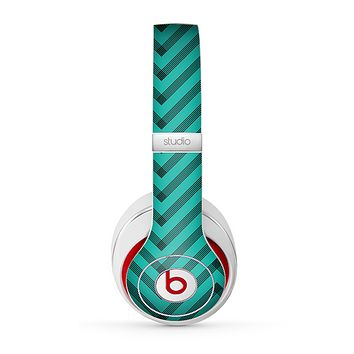 The Teal & Black Sketch Chevron Skin for the Beats by Dre Studio (2013+ Version) Headphones