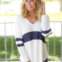 Cream and Navy V-Neck Sweater
