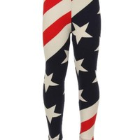 Girl's Flag Printed Leggings Labor Day Red/White/Blue:  S/L