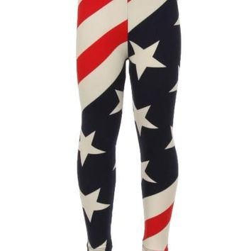 Girl's Flag Leggings 4th of July Red/White/Blue:  S/L