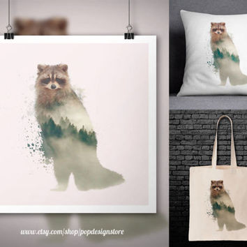 Racoon Double Exposure City Landscape Forest Animals Print Poster Tote Bag Mug Frame Pillow Case Digital File for Download PNG High Quality