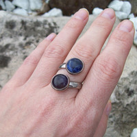 Gemstone Ring - Amethyst and Sodalite -  Silver Tone Pewter Twisted Adjustable Band - Two Stone Ring - Chakra Jewelry