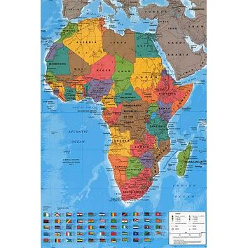 Political Map of Africa Education Poster 24x36