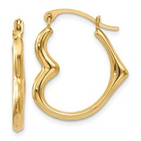 14k Yellow Gold Heart Hoop Earrings, 0.70 Inches (18mm) (2mm Wide)