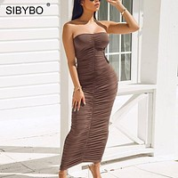 Sibybo Strapless Pleated Summer Long Dress Women Off Shoulder Backless Sexy Bodycon Dress Club Party Maxi Dresses for Women