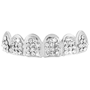 Custom Made Top Teeth Grillz White Gold Finish
