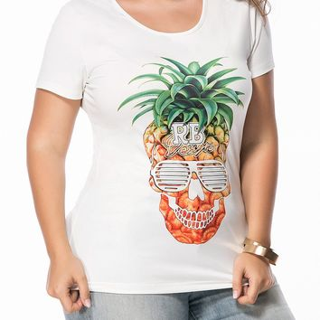 Streetstyle  Casual Round Neck Trendy Pineapple Printed Plus Size T-Shirt