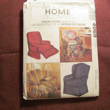 SALE Uncut McCall's Sewing Pattern, 4069! Home Decor/Chair Cover Essentials/Arts & Crafts/Recliner Chair Covers/Sitting Chair Covers/