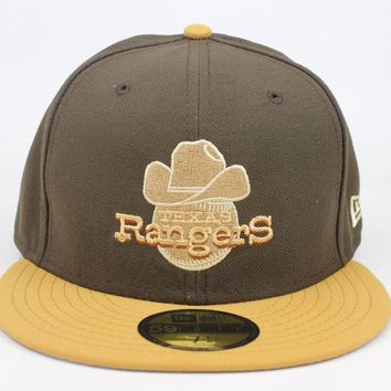 Texas Rangers Cowboy Baseball Brown / Tan Lid MLB New Era 59Fifty Fitted Hat Cap
