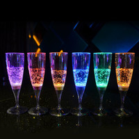 6Pcs Popular Liquid Active LED Champagne Beer Wine Water Drink Glass Flash Cup Glow Light Flashing Cups Glasses For Party Bars