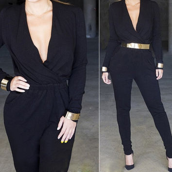 Sexy Women Lady Long Sleeve Plunge V-Neck Black Playsuit Jumpsuit Pant = 1902369412