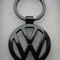VW Volkswagen Gloss Black Satin Black Key Chain Ring Metal Passat Jetta Tiguan Golf CC GTI SportWagen Touareg Beetle Convertible