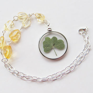 Real Four Leaf Clover, Pressed Flower Necklace, Shamrock Necklace, Real Four Leaf Clover Necklace, Pressed Flower Pendant, Citrine Necklace