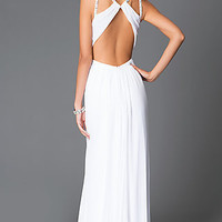 Long White High Neck Prom Dress with Sheer Keyhole Cut-Out