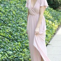 Ella Flutter Sleeve Faux Wrap Maxi Dress - Mauve