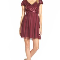 Junior Women's Speechless Sequin Bodice Cap Sleeve Skater Dress,