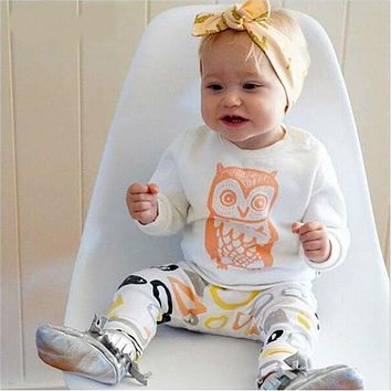 Baby girl clothes set Long sleeve T shirt + pants owl pattern baby clothing set newborn baby costume