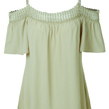 LE3NO Womens Flowy Boho Crochet Off Shoulder Top with with Adjustable Straps