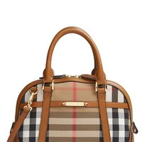 Burberry 'Small Orchard' House Check & Leather Satchel
