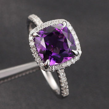 Claw Prongs SI H Pave Diamonds 14K White Gold 8mm VS Cushion Amethyst Ring