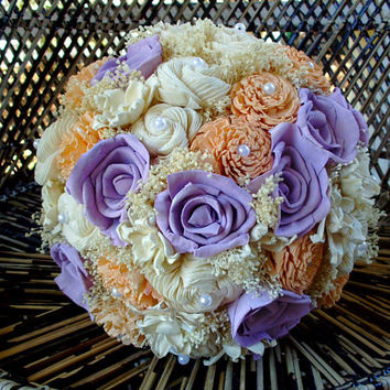 Peach and Lavender bridal bouquet | sola flower bouquet | rustic bouquet | Rustic wedding | alternative bouquet | keepsake bouquet