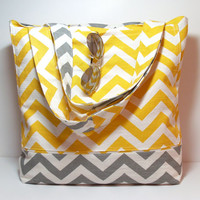 Beach Bag - Yellow Gray Chevron - Large Tote Bag - Summer Bag - Made To Order - Vacation Bag