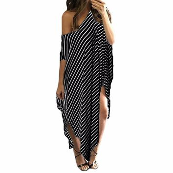 Women Loose Long Maxi Dress Striped Batwing Sleeve Off shoulder Split Casual Beach Dresses Wear Plus Size Vestidos