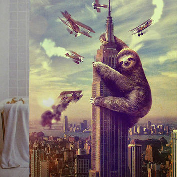 "Slothzilla parody Custom Shower Curtain available size 66"" x 72"", 60"" x 72"",48"" x 72"""