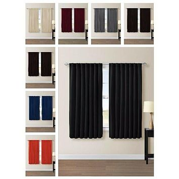 Back Tab Thermal Insulated Blackout Window Curtain Panels