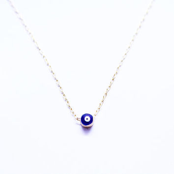 Tiny Gold Evil Eye Necklace - Matte gold evil eye on Gold Delicate Chain - Boho Necklace