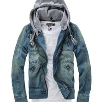 Men Blue Zipper Jean Jacket/Coat M/L/XL@X302NH11S0D13