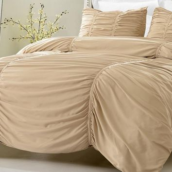 KHAKI RUCHED DESIGN BEDDING SET-INCLUDES COMFORTER AND DUVET COVER - STYLE # 1005 C - CHERRY HILL COLLECTION