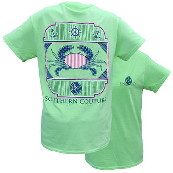 SALE Southern Couture Nautical Crab Anchor Mint Girlie Bright T Shirt